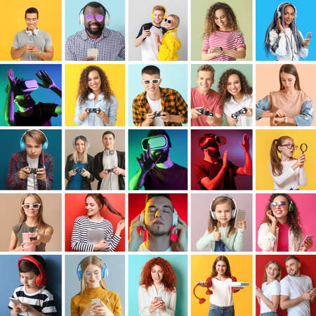 Collage of photos with different people using devices on color background