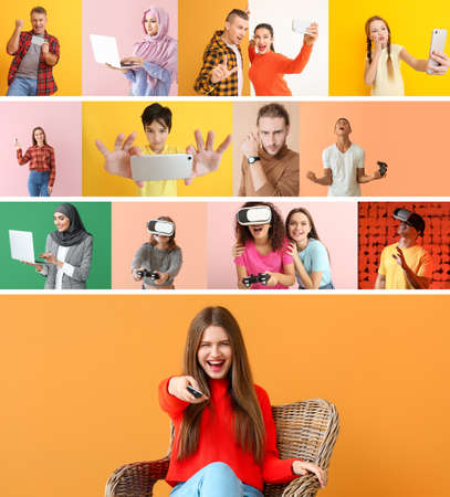 Collage of photos with different people using devices on color background Stockfoto