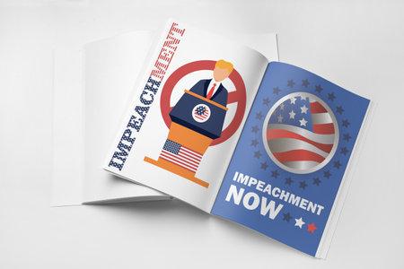 Magazines on white background. Impeachment concept