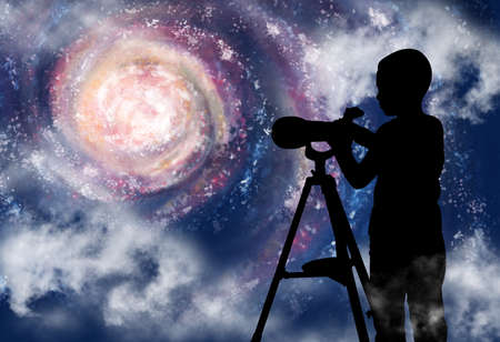 Silhouette of little boy observing stars through a telescope in space