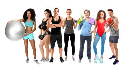 Collage of different sporty people on white background Stockfoto