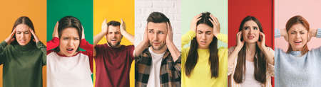 Collage of different people suffering from loud noise on color background