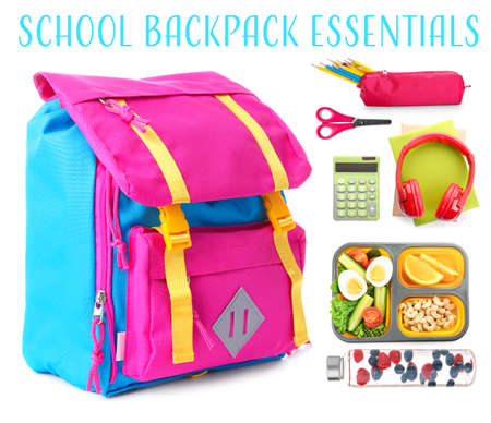 Backpack with different school essentials on white background Standard-Bild