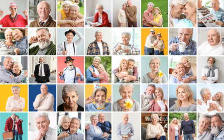 Collage of different elderly people Foto de archivo