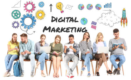 Young people sitting on white background. Concept of digital marketing Foto de archivo