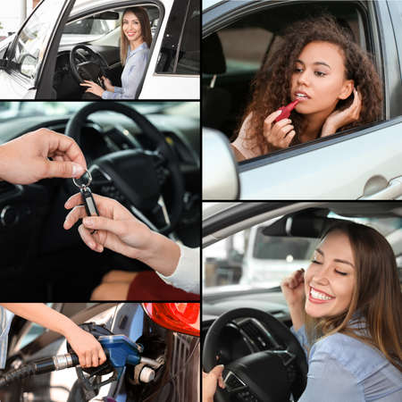 Collage of photos with different young women and their cars Archivio Fotografico