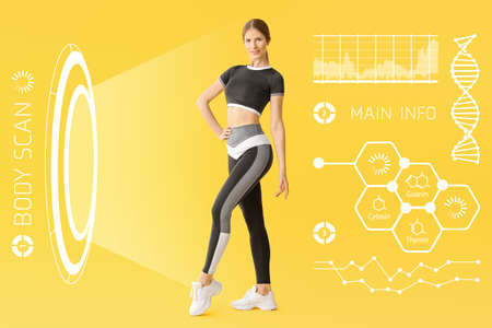 Sporty young woman undergoing whole body scanning against color background
