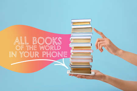 Female hands with stack of books and mobile phone on color background. Concept of online library