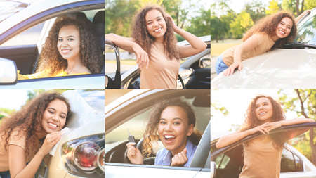 Collage of photos with happy African-American woman and her car