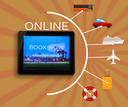 Open page of online booking service on screen of tablet computer on color background Standard-Bild