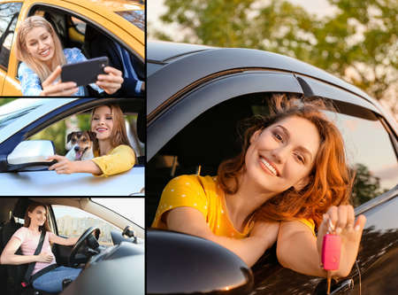 Collage of photos with different happy young women sitting in car Archivio Fotografico