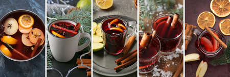 Collage of tasty mulled wine on table