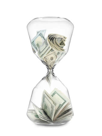 Hourglass with dollar banknotes on white background. Time is money