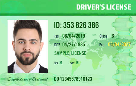 Sample of modern driver's license, front view