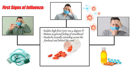 Ill man in protective medical mask and first signs of influenza on white background