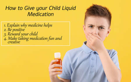 Ill little boy with cough syrup in bottle and recommendations how to give child liquid medication on color background Stockfoto