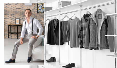 Collage of photos with fashionable young man and trendy clothes. Concept of stylist Stock Photo