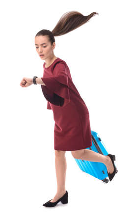 Running woman with luggage on white background