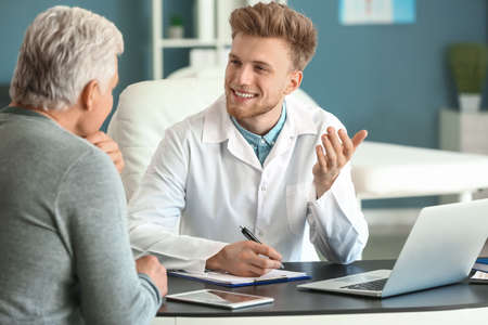 Male patient at urologist's office Stock Photo