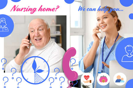 Elderly man speaking to young caregiver by phone. Concept of nursing home