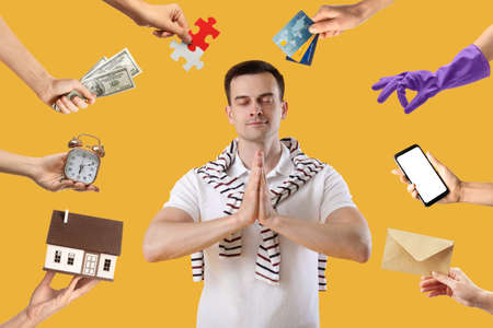 Meditating man with lot of problems on color background Banque d'images
