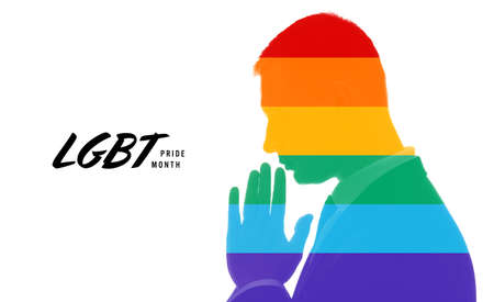 Rainbow silhouette of praying man on white background with text LGBT PRIDE MONTH