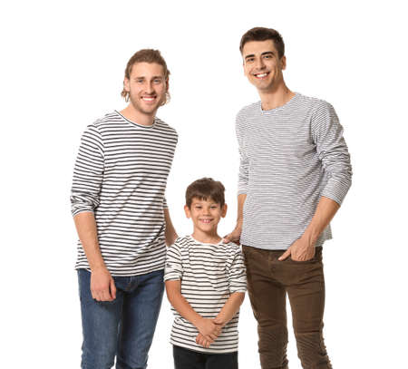 Happy couple with adopted child on white background