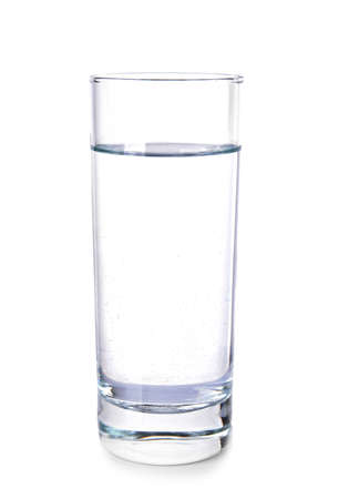 Glass of fresh water on white background
