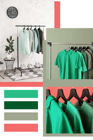 Collage of photos with stylish clothes on hangers. Different color patterns Stock Photo