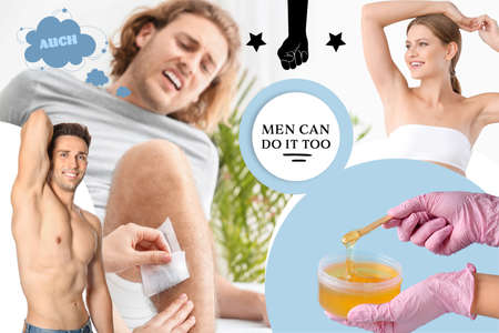 Collage of young man undergoing wax epilation and beautiful people after hair removal procedure