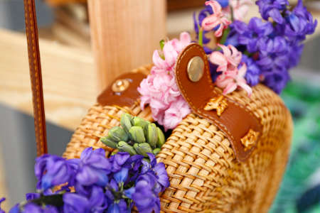 Wicker bag with beautiful hyacinth flowers, closeup Stok Fotoğraf