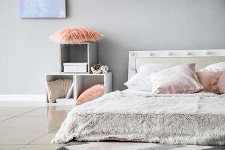 Stylish interior of modern bedroom Stok Fotoğraf