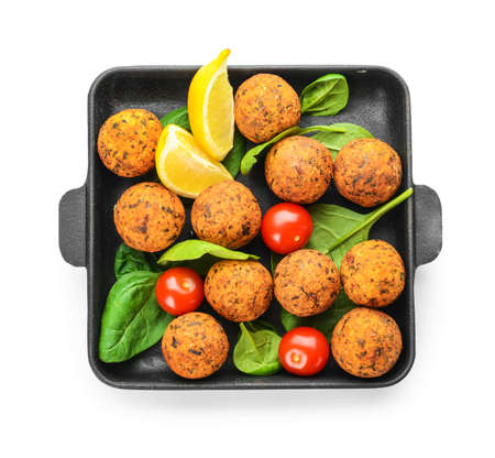 Frying pan with tasty falafel balls on white background Stok Fotoğraf
