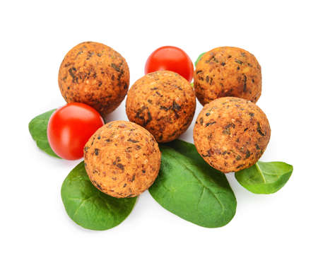 Tasty falafel balls on white background Stok Fotoğraf - 163657304