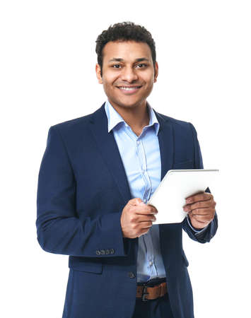 Portrait of handsome businessman with tablet computer on white background