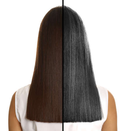 Comparison of woman with young and gray hair on white background, back view Reklamní fotografie