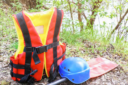 Accessories for rafting on ground near river