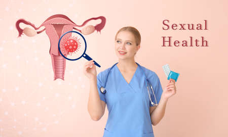 Gynecologist with different contraceptives and drawn uterus on color background