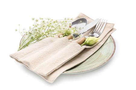 Beautiful table setting on white background
