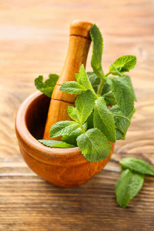 Mortar with fresh green mint and pestle on wooden background