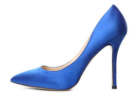Stylish high-heeled female shoe on white background