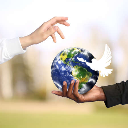 Hands of Caucasian woman and African-American man with model of Earth and dove on color background. International Day of Peace Stock Photo