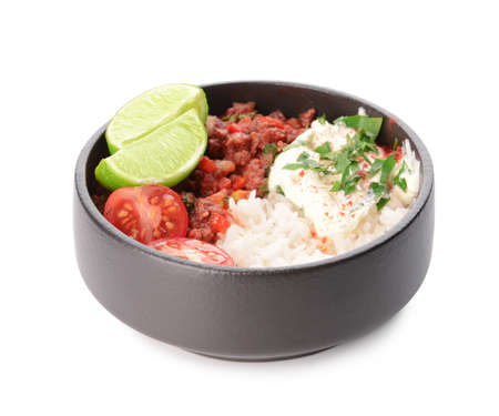 Bowl with tasty chili con carne and rice on white background