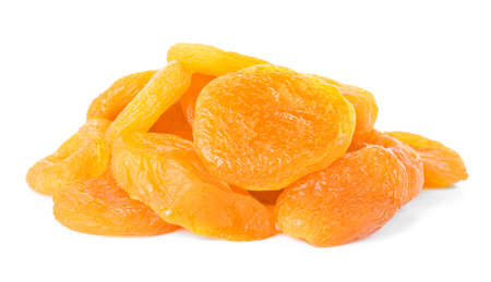 Tasty dried apricots on white background