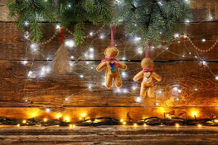 Beautiful Christmas composition on wooden background Reklamní fotografie