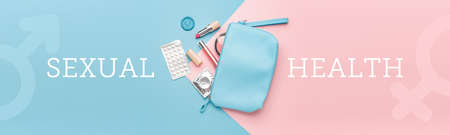 Female bag with contraceptive pills, condom and makeup cosmetics on color background. Concept of health