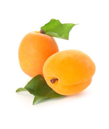 Tasty ripe apricots on white background Foto de archivo