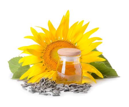 Composition with sunflower oil on white background Zdjęcie Seryjne