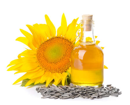 Composition with sunflower oil on white background Stock Photo