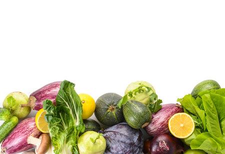Assortment of fresh vegetables on white background